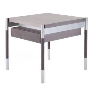 Soffio-tavolino-in-acero-sbiancato-con-cassetto-in-pelle