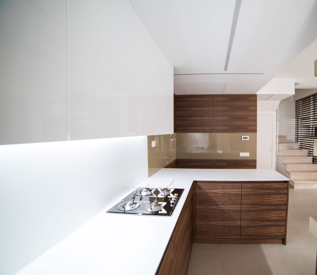 NAPA design kitchen in walnut made in Italy by Disegnopiu