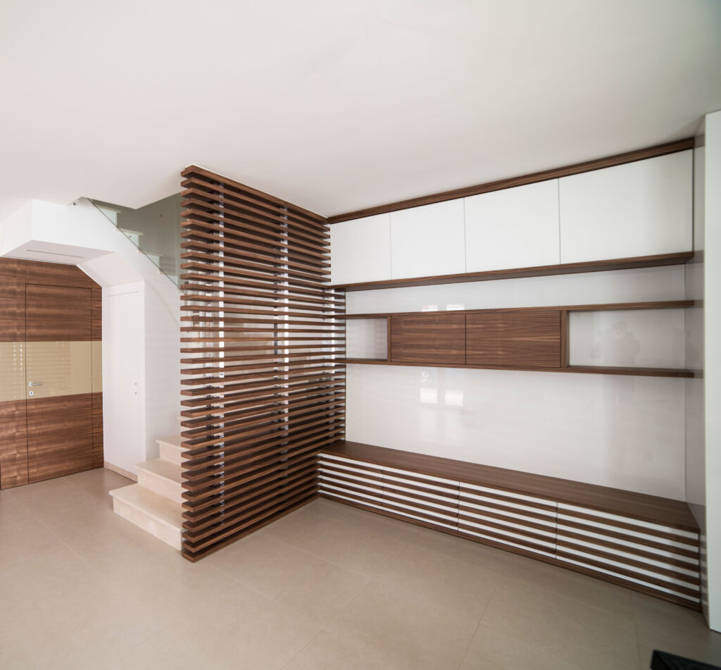 Wohnzimmerwand aus Nussbaum NAPA von Disegnopiù