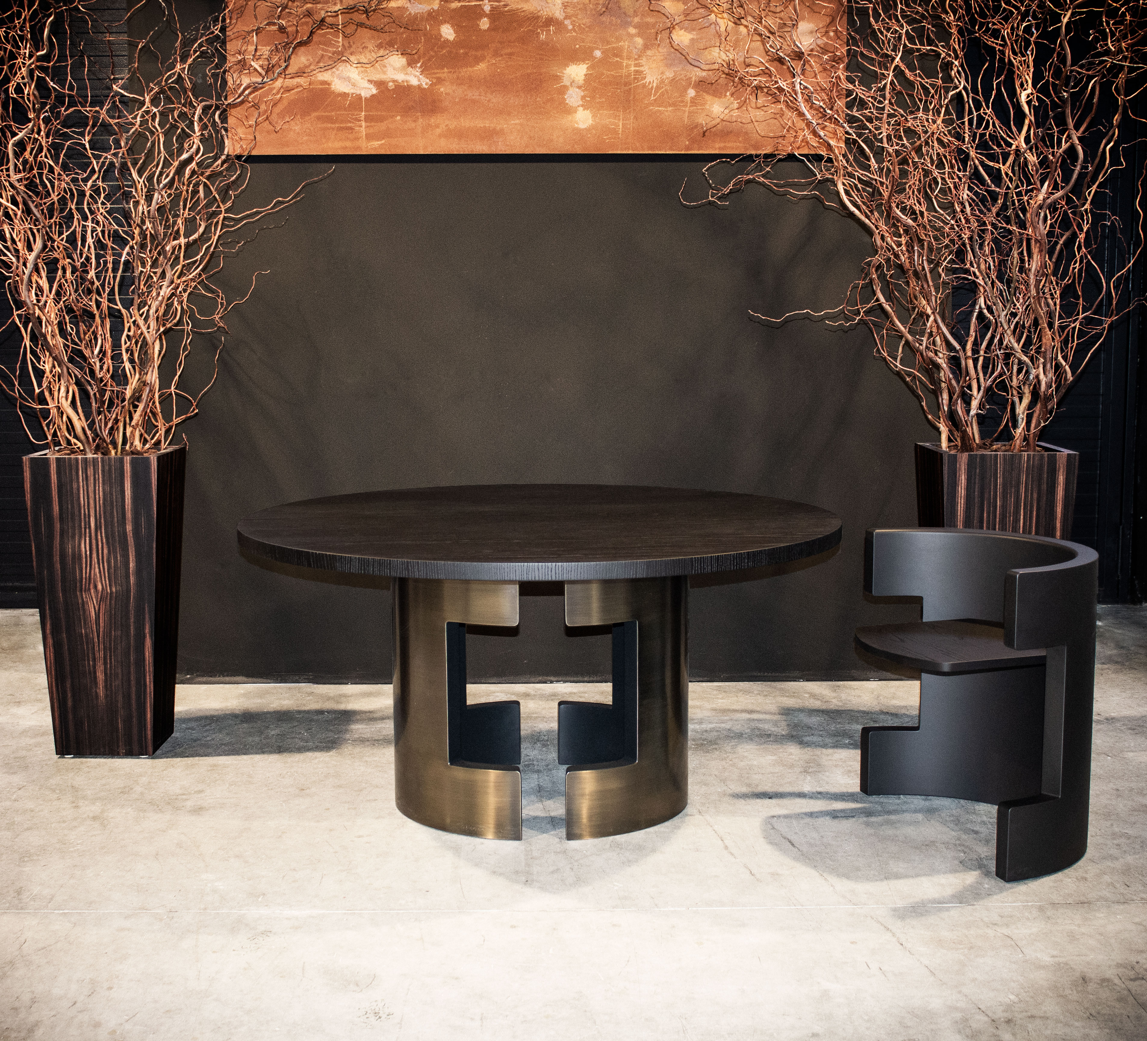 polo + -seat in matt carbon black lacquered wood and black oak