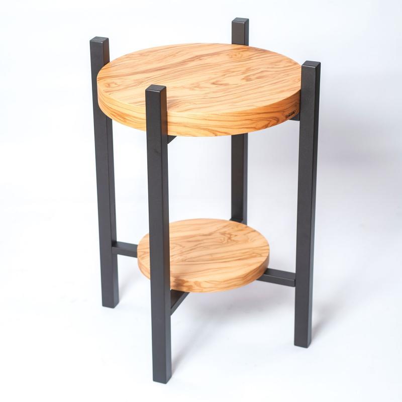 Vortice tavolino in Ulivo e legno laccato effetto metallo
